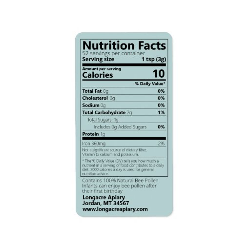 Bee Pollen Nutrition Facts Turquoise Product Label