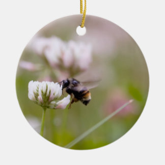 Bee Pollinating Clover Ornament