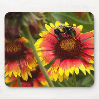Bee Pollinating on a Flower Mouse Pad