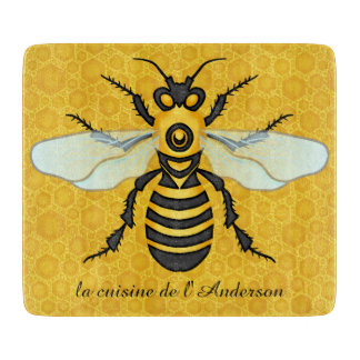 Bee Pretty Honeycomb Honeybee Hive Custom Kitchen Cutting Board