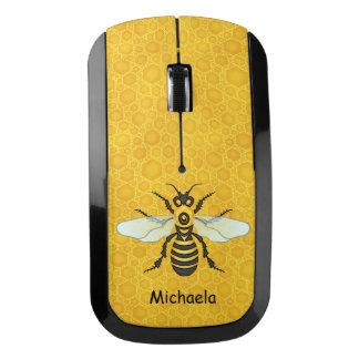 Bee Pretty Honeycomb Honeybee Hive Custom Text Wireless Mouse