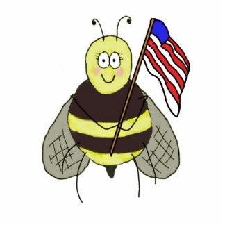 Bee Proud USA Flag Keychain Support Our Troops