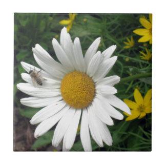 Bee Resting on shasta Daisy Ceramic Tile