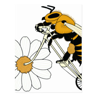 Bee Riding Bike With Flower Wheel Postcard
