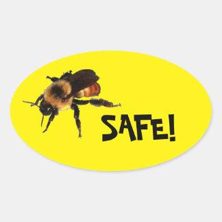 Bee Safe! Honey bee on Yellow Oval Sticker