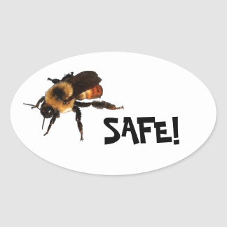 Bee Safe! Honey bee Oval Sticker