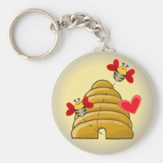 BEE SKEP HIVE by SHARON SHARPE Keychain