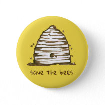Bee Skep Save The Bees Yellow Button