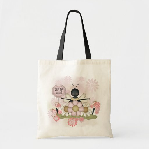 Bee Smell the Flowers Tshirts and Gifts Canvas Bags