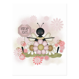 Bee Smell the Flowers Tshirts and Gifts Postcards