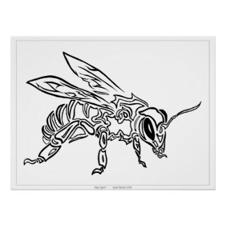 """""""Bee Spirit"""" - Surreal abstract tribal bee totem a Posters"""