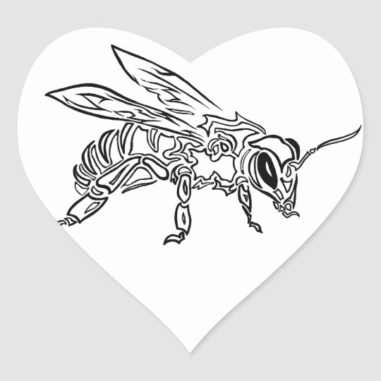 """Bee Spirit"" ver1- Surreal tribal bee totem animal Heart Sticker"