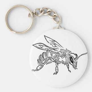 """Bee Spirit"" ver1- Surreal tribal bee totem animal Keychains"