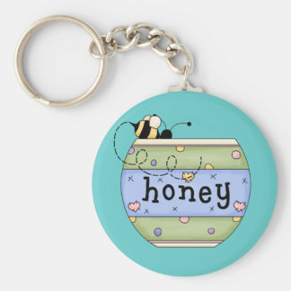 Bee Stealing from Honey Pot Keychain