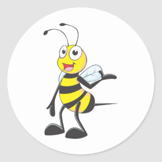 Bee Stickers : Bee Presenting with Hand Up