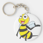 Bee Stickers : Bee Presenting with Hand Up Key Chain