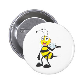 Bee Stickers : Bee Presenting with Hand Up Pinback Button