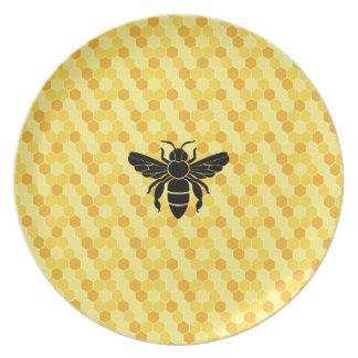 Bee Still My Heart Honey Bee Beehive Damask Dinner Plate