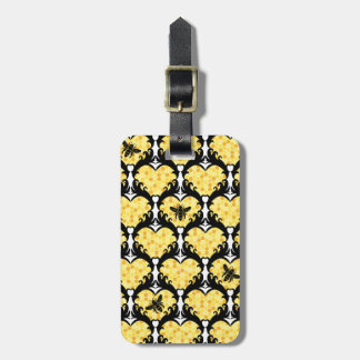 Bee Still My Heart Honey Bee Beehive Damask Luggage Tag