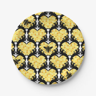 Bee Still My Heart Honey Bee Beehive Damask Paper Plate
