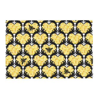 Bee Still My Heart Honey Bee Beehive Damask Placemat