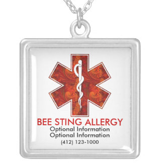 Bee Sting Allergy Medical   Necklace