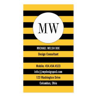 Bee Stripes Yellow and Black with Monogram Business Card