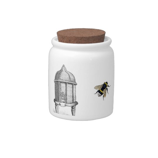 Bee Sweet Victorian Bee hive and Bees Candy Jar