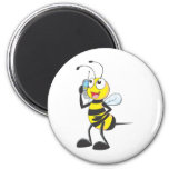 Bee Talking on Phone - Calling Someone 2 Inch Round Magnet