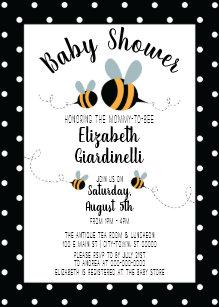 Bee Themed Baby Shower Invitations Polka Dots