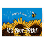 bee trail sunflower - 19 years old greeting card