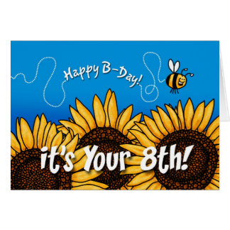 bee trail sunflower - 8 years old cards