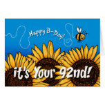 bee trail sunflower - 92 years old greeting cards
