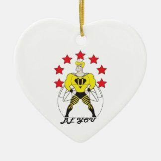 Bee U (Be You) white or red stars Ceramic Ornament