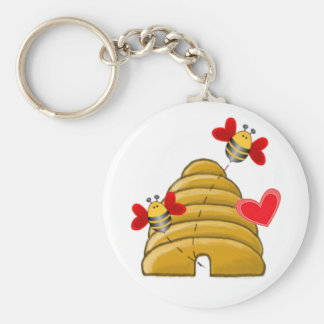 BEE VALENTINE HEARTS by SHARON SHARPE Keychain