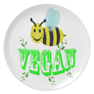 bee vegan party plates