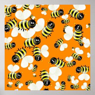 Bee Wallpaper Print