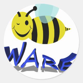 bee ware classic round sticker
