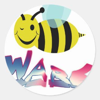 bee ware watchout classic round sticker