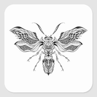 Bee-Wasp Tattoo Square Sticker