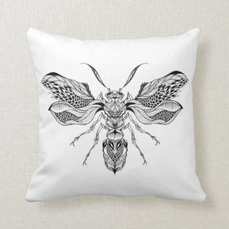 Bee-Wasp Tattoo Throw Pillow