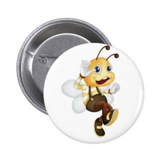 Bee waving 2 inch round button