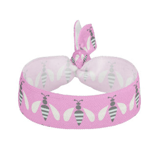 Bee White Animals Cute Pink Ribbon Hair Tie