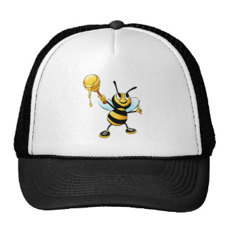 Bee with a honey spoon cartoon mesh hat