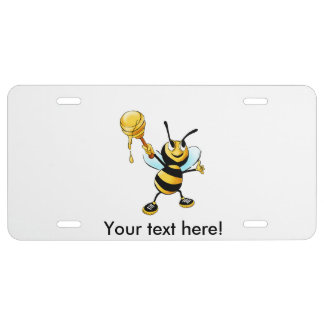 Bee with a honey spoon cartoon license plate