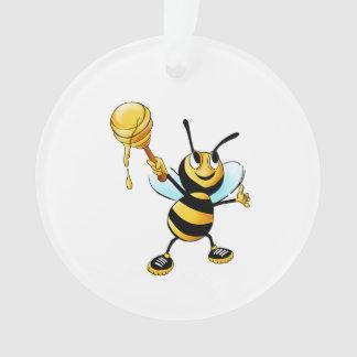 Bee with a honey spoon cartoon ornament