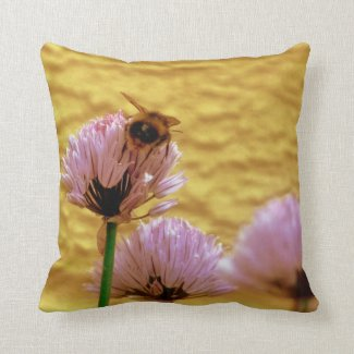 Bee With Chive Flowers Throw Pillow