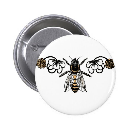 bee with clover 2 inch round button