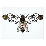 "bee with clover 4.25"" x 5.5"" invitation card"