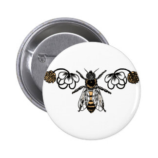 bee with clover button